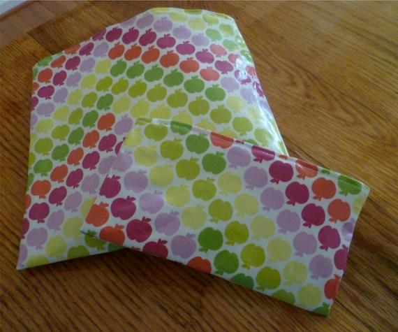 Reusable Snack Sandwich Bag Set Laminated Cotton Fabric Apples
