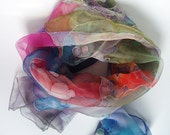 Pure Silk scarf hand painted Cotton clouds