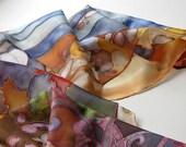 Silk scarf hand painted Maple leaf story on silk