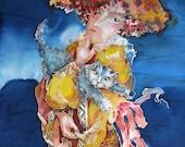 Silk painting with cat - original art - Good morning.