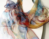 Fall fashion - hand dyed scarf on chiffon silk - hand painted scarves - wearable art painted 18x72