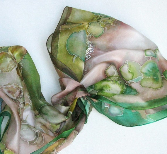 RESERVED for legionzhao1 Silk scarf hand painted Green remedy
