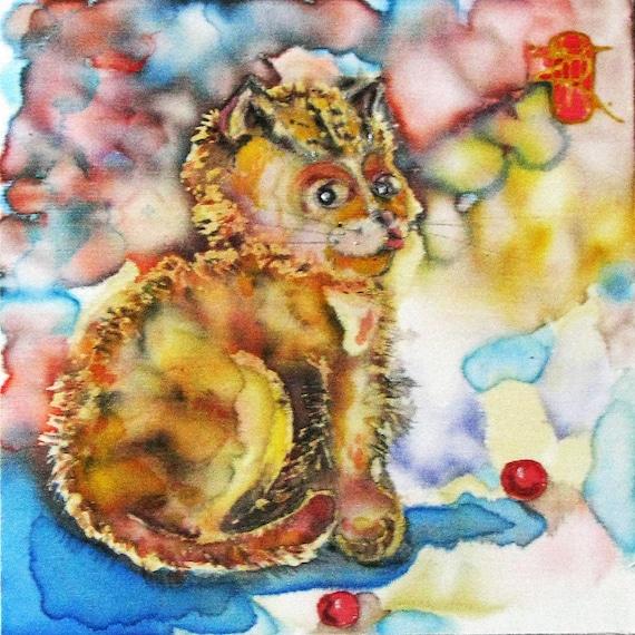 Silk painting Muse Kitty. Original Painting on Silk