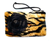 Tiger faux fur   wristlet with rose  w/zipper / Perfect Bridesmaids Gift