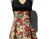 Tattoo Art Inspired Skulls and Roses Tattoo Art Dress / Rockabilly Inspired Dress