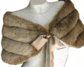 Fox Light  Brown / Champagne  Faux Mink Fur Bidal Wrap Shawl Capelet