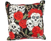 Skulls & Roses Tattoo Art Throw Pillow
