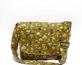 Green Wild Mushroom Messenger Bag / Shroom Messenger Bag