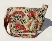 Tattoo Art Messenger Bag / Rockabilly/ Pinup/ Skulls and Roses Messenger Bag / Laptop Bag / Diaper Bag / Bookbag
