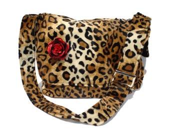 Leopard Faux Fur Messenger Bag