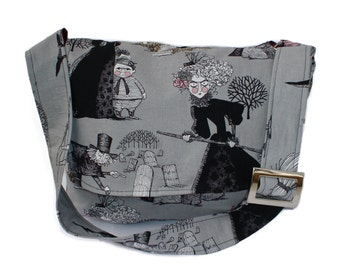 Messenger Bag Gray Ghastlies Witches, Hauted Houses / Laptop Bag / Diaper Bag / Book Bag / Large purse