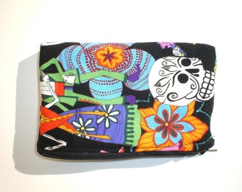 On sale !! 2 for 12.00   Dia de los Muertos  Wallet / Coin purse / Makeup Bag