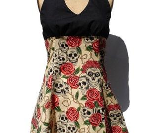 Tattoo Art Inspired Skulls and Roses Tattoo Art Dress / Rockabilly Inspired Dress