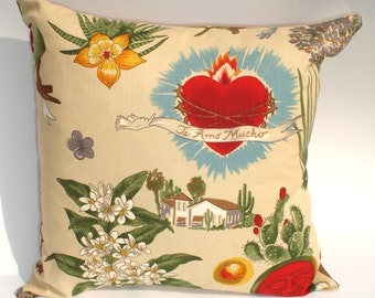 Frida  Art Mexican Novelty throw Pillow 12x12in.