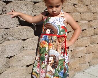 Girls Rockabilly Senorita Dress- 2T,4T,6T, 8 / Little girls / Toddler Dress