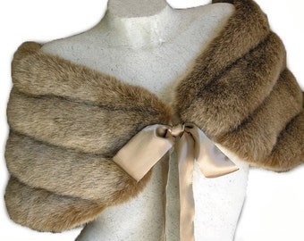 Fox Light  Brown / Champagne  Faux Mink Fur Bidal Wrap Shawl Capelet