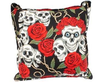 Skulls & Roses Tattoo Art Throw Pillow