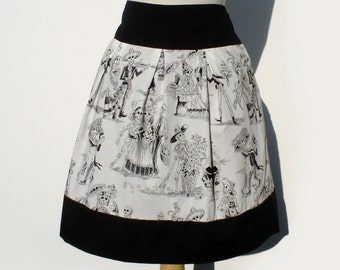 Black and White Catrina Skulls Day of the Dead Skirt