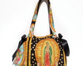 Mexican Guadalupe Virgin Mary Panel  Bag / Purse