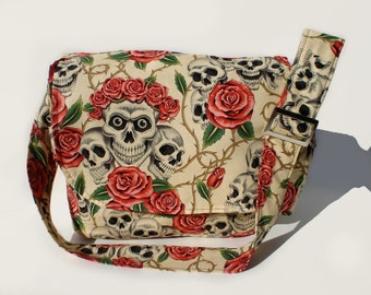 Tattoo Art Messenger Bag / Rockabilly/ Pinup/ Skulls and Roses Messenger Bag / Laptop Bag / Diaper Bag / Bookbag