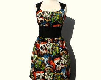 Plus Size ( XL )Rockabilly Pin up Dress / Monsters Vintage Inspired 1950s Horror Movie Pinup Hollywood Monster Dress in Extra Large
