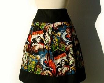 Retro Horror Movie Hollywood Monsters Vintage Inspired Skirt