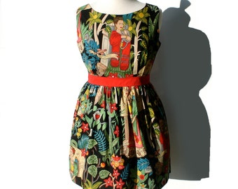 Mexican Frida Vintage Inspired Dress / Day of the Dead Dress / Rockabilly Dress