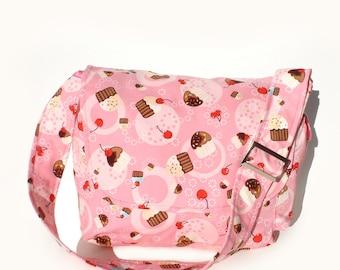 Cupcakes and Cherries Messenger Bag / Diaper bag