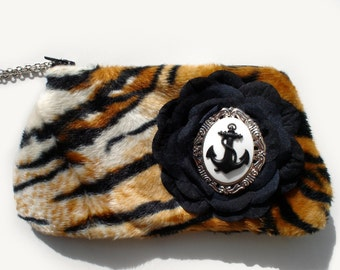 Vintage Inspired Nautical  Cameo   Animal Print Small Purse / Wallet / Wristlet