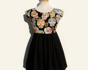 Day of the Dead Mexican  Sugar Skulls Mini Dress / Day of the Dead Dress