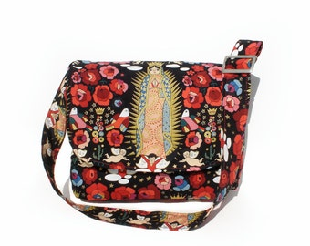 Virgin Mary Guadalupe & Flowers Nappy Bag / Messenger Bag /Purse