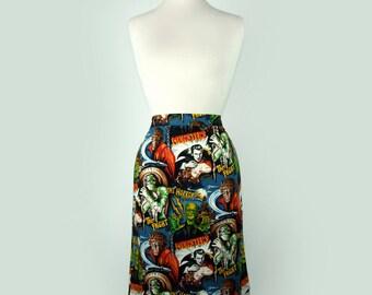 Rockabilly Hollywood Horror Monsters Pencil Skirt