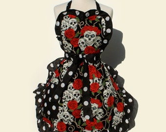 Tattoo Art and Polka Dots Skulls and Roses Apron