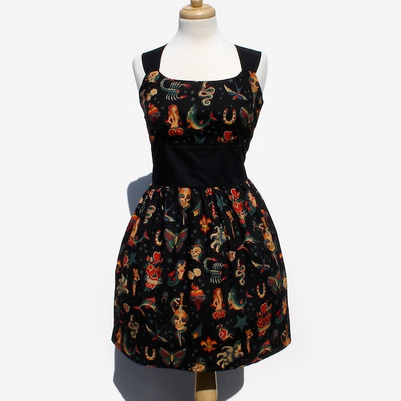 Tattoo Art Rockabilly Pinup Dress / Vintage Inspired Tattoo Art Dress