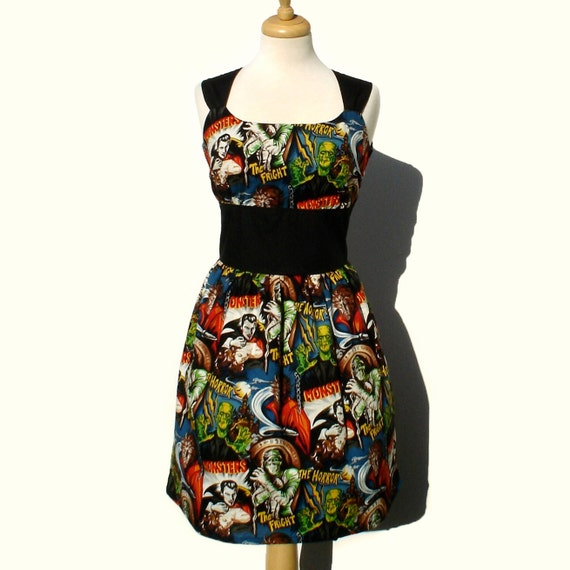 Rockabilly Pinup Dress Classic Pinup Dress / Monsters Vintage Inspired 1950s Horror Movie Pinup Hollywood Monster Dress