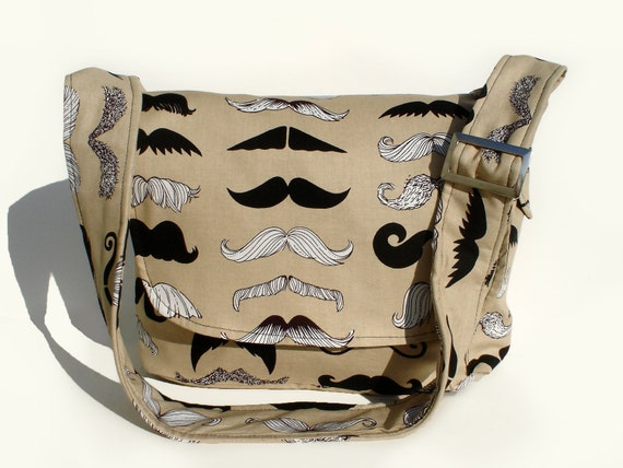 Mustache Messenger Bag /Crossbody Bag/  Laptop Bag/ Diaper Bag/ Book Bag/ Hipster  Man Bag