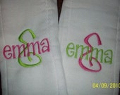 Two 2 Monogrammed Embroidered Personalized Burp Cloths
