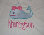 Monogrammed Personalized Appliqued Boutique Whale Shirt Bor or Girl