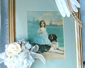 Sweet Baby Girl with Dog Framed Lithograph 1900