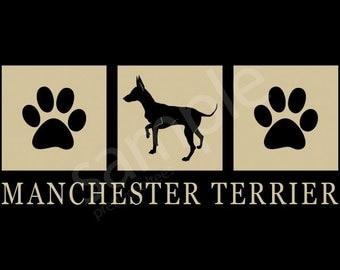 Manchester Terrier Silhouette T-Shirt Tee - Men's, Ladies Women's, Short, Long Sleeve, Kids Youth