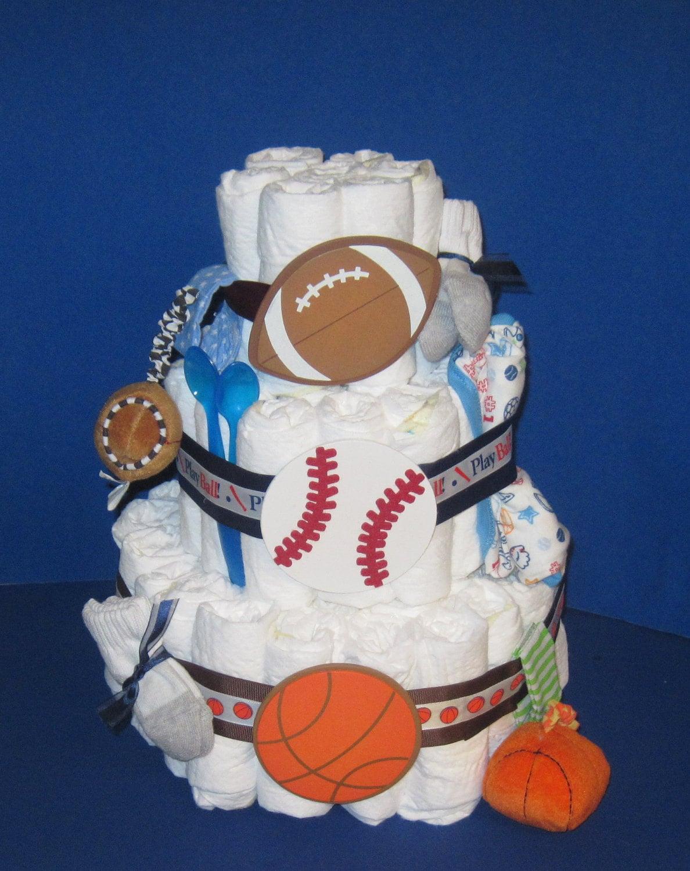 How To Make A Baseball Themed Diaper Cake