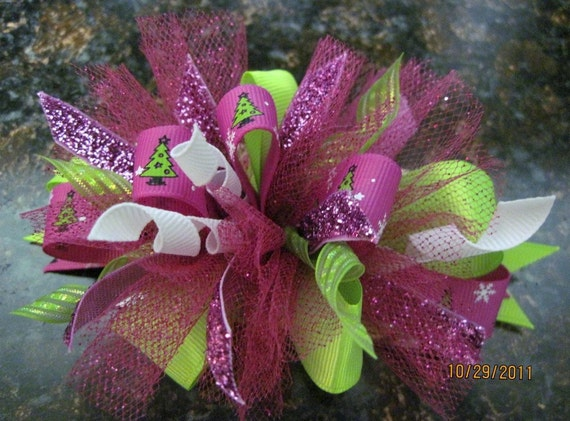 hot pink and lime green christmas tree hair bow. Black Bedroom Furniture Sets. Home Design Ideas