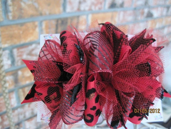Childrens beautiful dramatic red and black Valentines funky hair bow