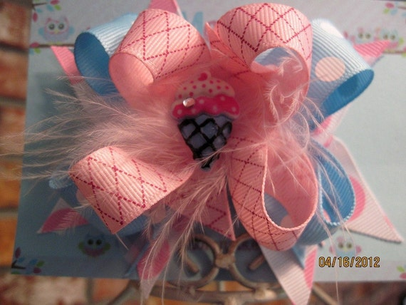 Girls pink and blue waffle cone double stacked boutique style hair bow on alligator clip with marabou