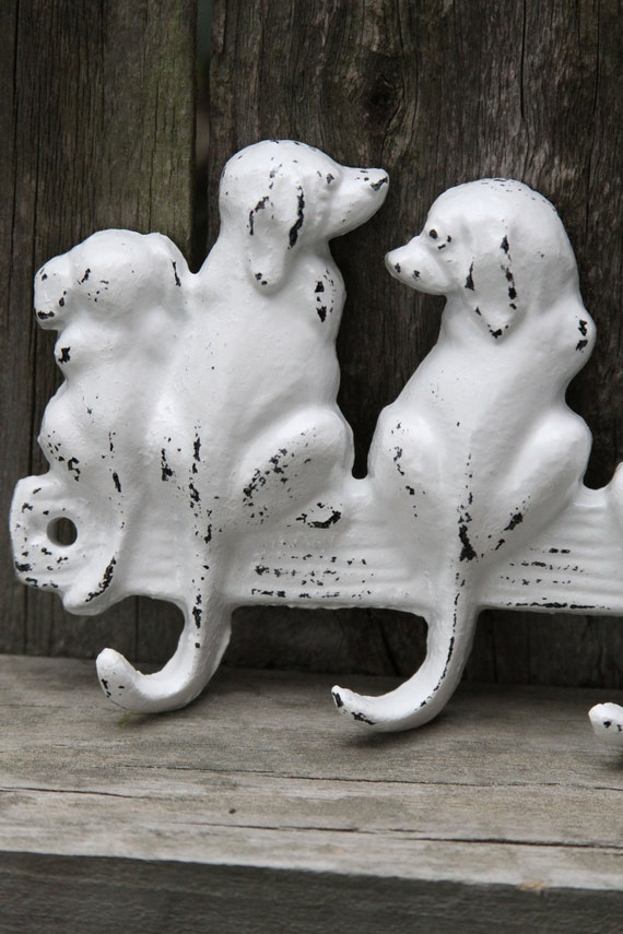 Six Dog Wall Hook, Cast Iron, White, Shabby Chic