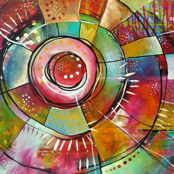Visual Balance In Art : Items similar to rainbow acrylic painting inspirational