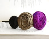 Chic Silk Rosette Trio Headband Old World Gold, Black and Royal Magenta