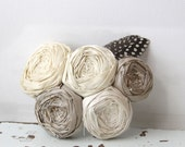 For the Bride Ivory Silk Rosette Chic Hair Piece on a Snap Clip