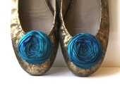 Rosette Shoe Clips Peacock Blue Silk Flower Shoe Clips with Bluette Clips 2.25 inches