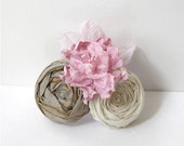 Rosette Hair Clip Handmade Roses and Pink French Flower Hair Clip Earth Tone Silk and Ivory Cotton